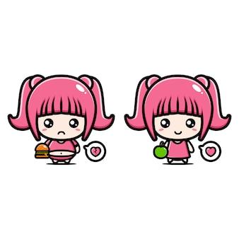 Illustration fat girl and slim girl