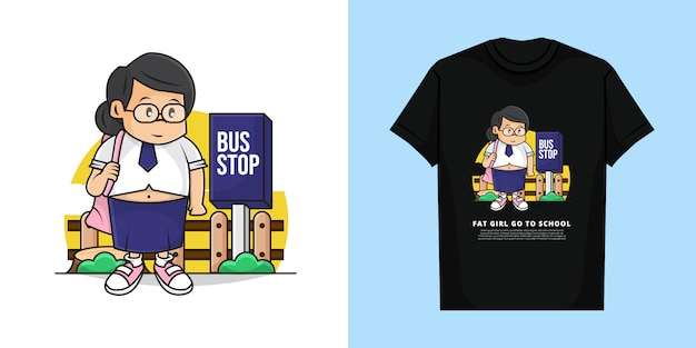Illustration of fat girl waiting bus go to school with t-shirt design