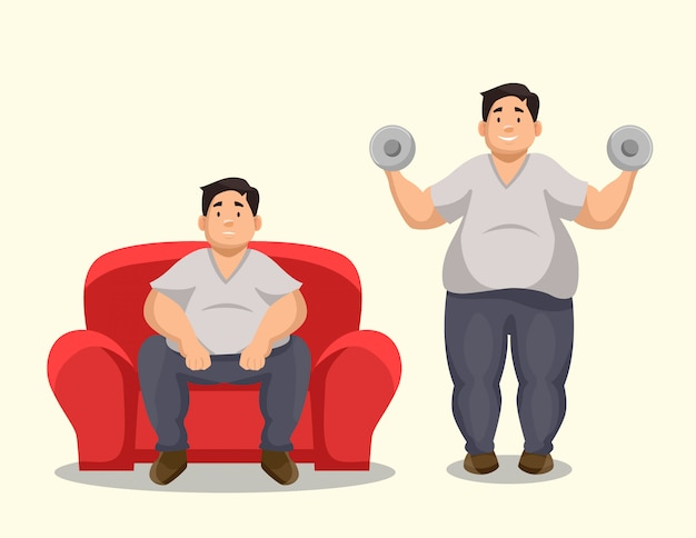 Illustration of a fat man on a couch and a fat man exercising