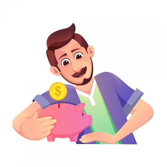 Illustration of a father with a mustache saving money for the future and a piggy bank