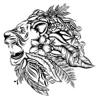The illustration of the fauna of the lion head with the flowers and leaves as the mane