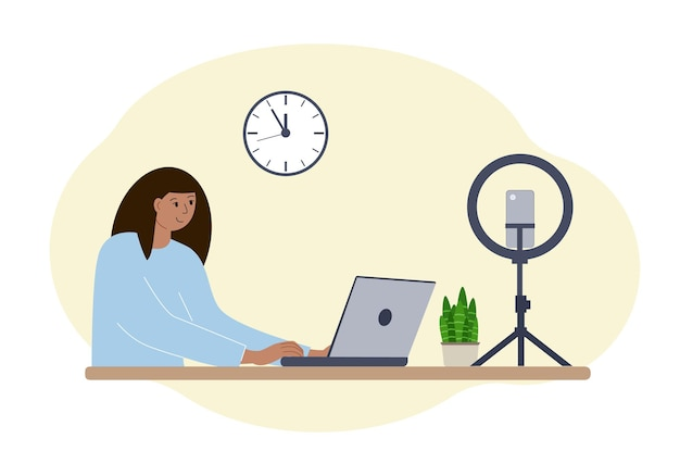 Illustration of a female blogger at the table with a laptop. online filming of a training course or blog