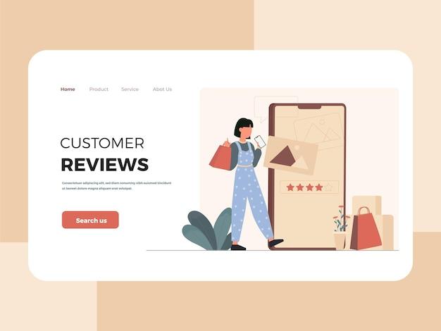 Illustration of female customer landing page template