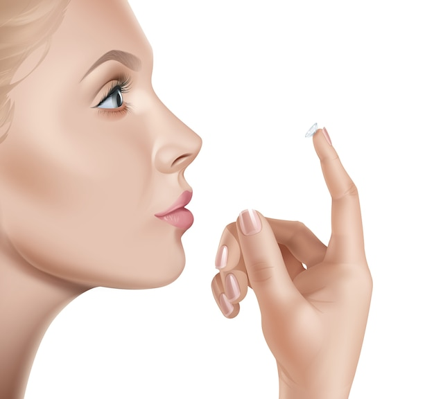 Illustration of female face and contacts for vision in hand
