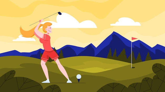 Illustration of female golf player on green field. woman holding a golf club and hitting the ball. healthy outdoor lifestyle.  illustration