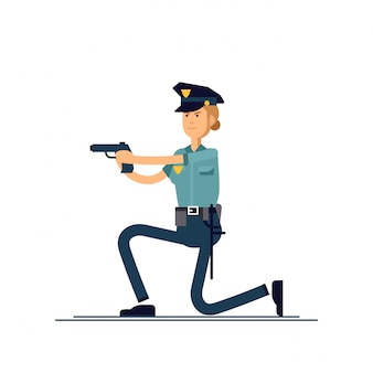 イラスト女性警官キャラクター。制服を着た婦人警官がアクティブなポーズで立っています。公安担当官の文字の概念が白い背景で隔離。