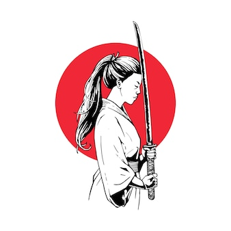Illustration female samurai with swords