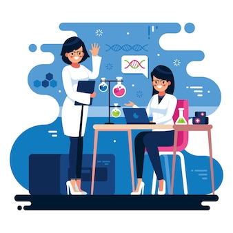 Illustration of female scientists