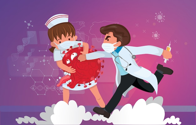 イラストcovid-19コロナウイルスと戦います。コロナウイルスを治します。医師と看護師はウイルスの概念と戦います。コロナウイルスワクチンの概念。 2019-ncovの終わり。