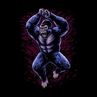 Illustration of fighting gorilla design