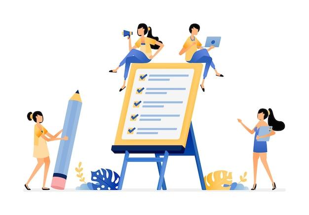 Illustration of fill out surveys checklist