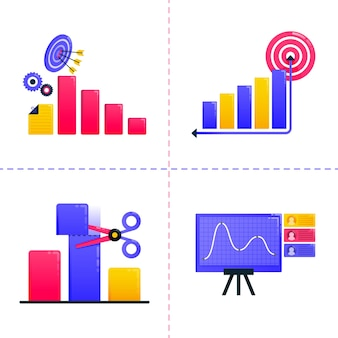 Illustration  of finance, business, marketing, financial analysis, charts and achieve goal targets.