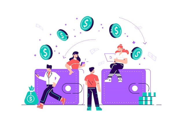 Illustration of financial transactions, money transfer, banking, large wallets with coins. flat style modern design  illustration for web page, cards, poster, social media.