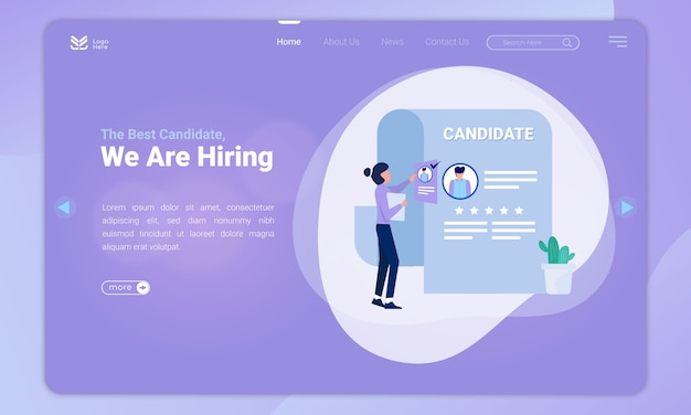 Illustration of finding the best candidates on the landing page