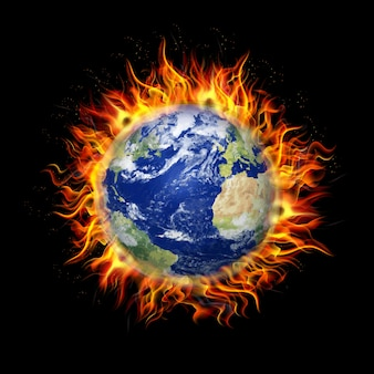 Illustration of fire burning earth planet