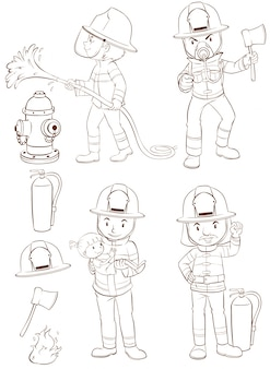 Illustration of fire fighters and equipments