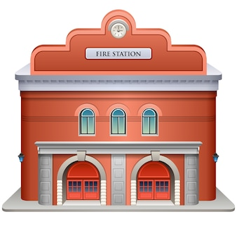 Illustration of a fire station on a white background.