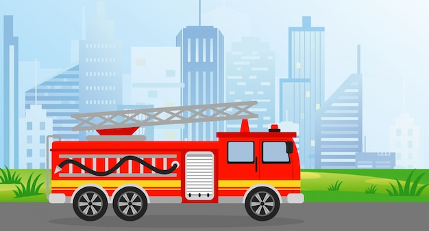 Illustration fire truck in flat style on modern city view background.