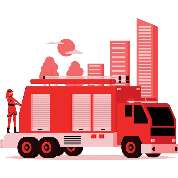 Illustration of firefighter truck and the firefighter on it