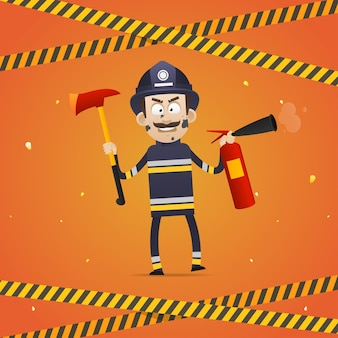 Illustration, fireman holds fire extinguisher and firefighter ax, format eps 10
