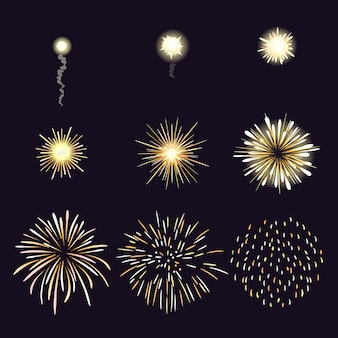Illustration of firework effect in cartoon comic style.