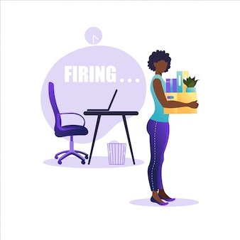 Illustration of firing employee. african american woman standing with offices box with things. unemployment concept, crisis, jobless and employee job reduction. job loss.