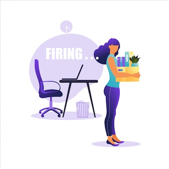 Illustration of firing employee.  woman standing with offices box with things. unemployment concept, crisis, jobless and employee job reduction. job loss.