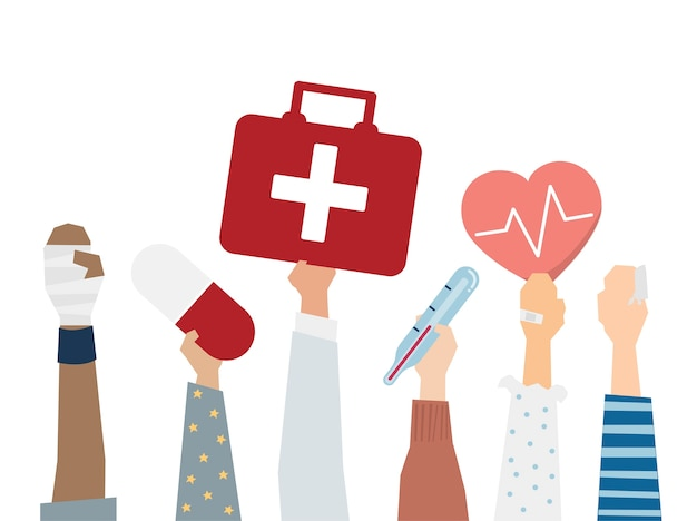 Illustration of first aid medical care concept