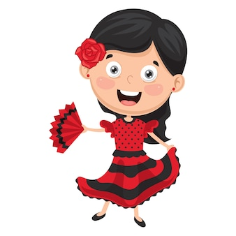 Illustration of flamenco dancer