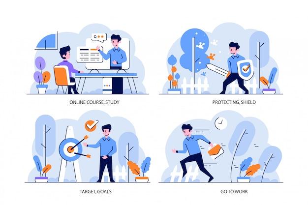 Иллюстрация плоский и контурный стиль дизайна, онлайн-курс, учеба, защита, щит, вирус, цель, цели, приступить к работе