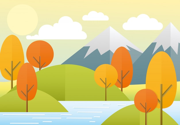 Illustration flat autumn nature landscape. colorful nature, mountains, lake, sun, trees, clouds. autumn view in trendy flat cartoon style.