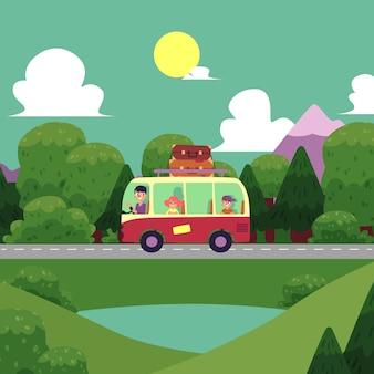 Illustration flat camping, road trip scene