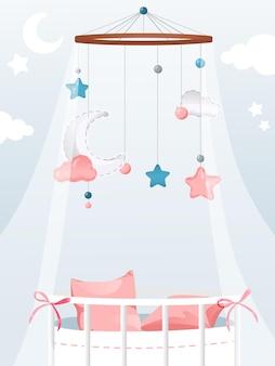 Illustration in flat cartoon style of newborn child theme