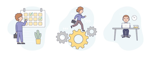 Illustration in flat cartoon style of three business concepts together