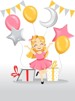 Illustration in flat cartoon style of white happy smiling girl wearing pink dress in her birthday with gifts