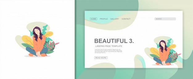 Illustration flat character woman  and leaves  design landing page
