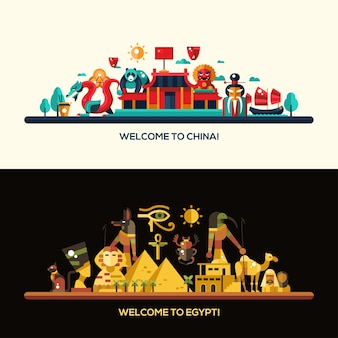Illustration of flat design egypt and china travel banners set with icons