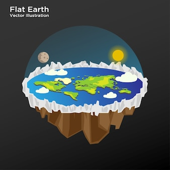 Illustration of flat earth theory layout vector template