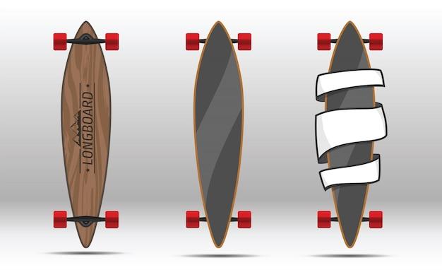 Illustration of flat longboards isolated