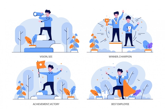 Illustration flat and outline design style, vision, winner, champion, achievement, victory, best employee