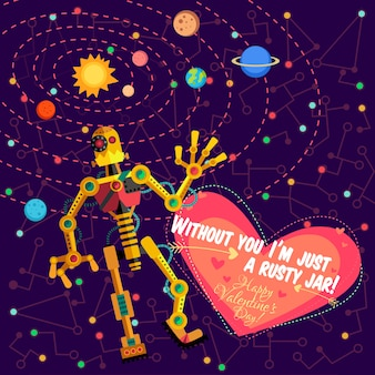 Illustration in flat style about robot. greeting card