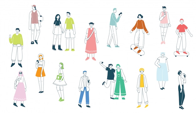 Illustration in a flat style of different activities people jumping, dancing, walking, couple in love, doing sport