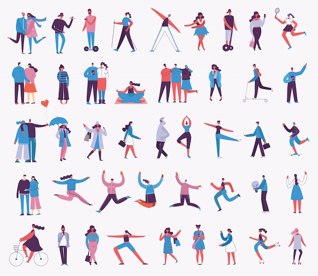 Illustration in a flat style of different activities people jumping, dancing, walking, couple in love, doing sport.