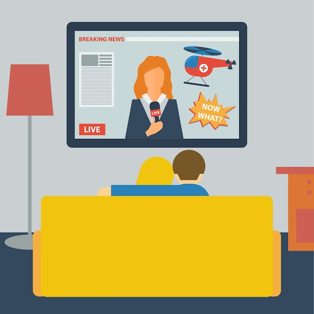 Illustration in a flat style with couple watching the news on television sitting on the couch in the room