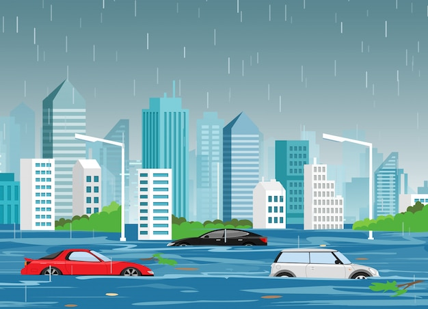 Illustration of flood natural disaster in cartoon modern city with skyscrapers and cars in water.