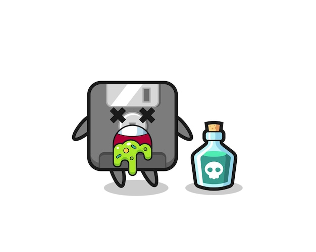 Illustration of an floppy disk character vomiting due to poisoning , cute style design for t shirt, sticker, logo element