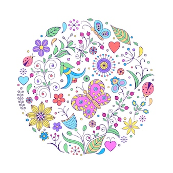 Illustration of floral hand drawn colorful pattern