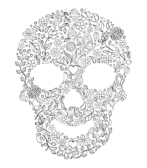 Illustration of floral skull on white.