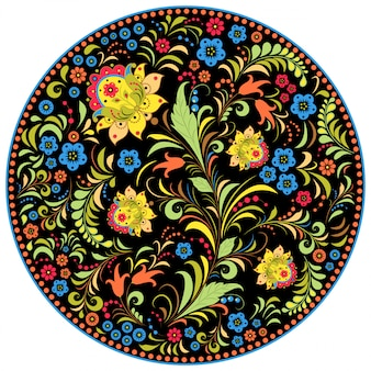 Illustration of floral traditional russian pattern.