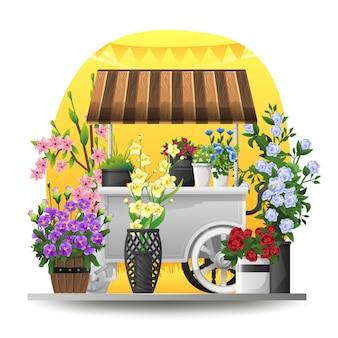 Illustration of flower cart in spring